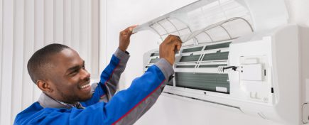 Happy Male Technician Checking Air Conditioner At Home